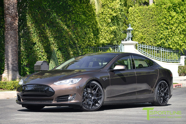 Brown Tesla Model S 1.0 with Matte Black 21 inch TS117 Forged Wheels 1