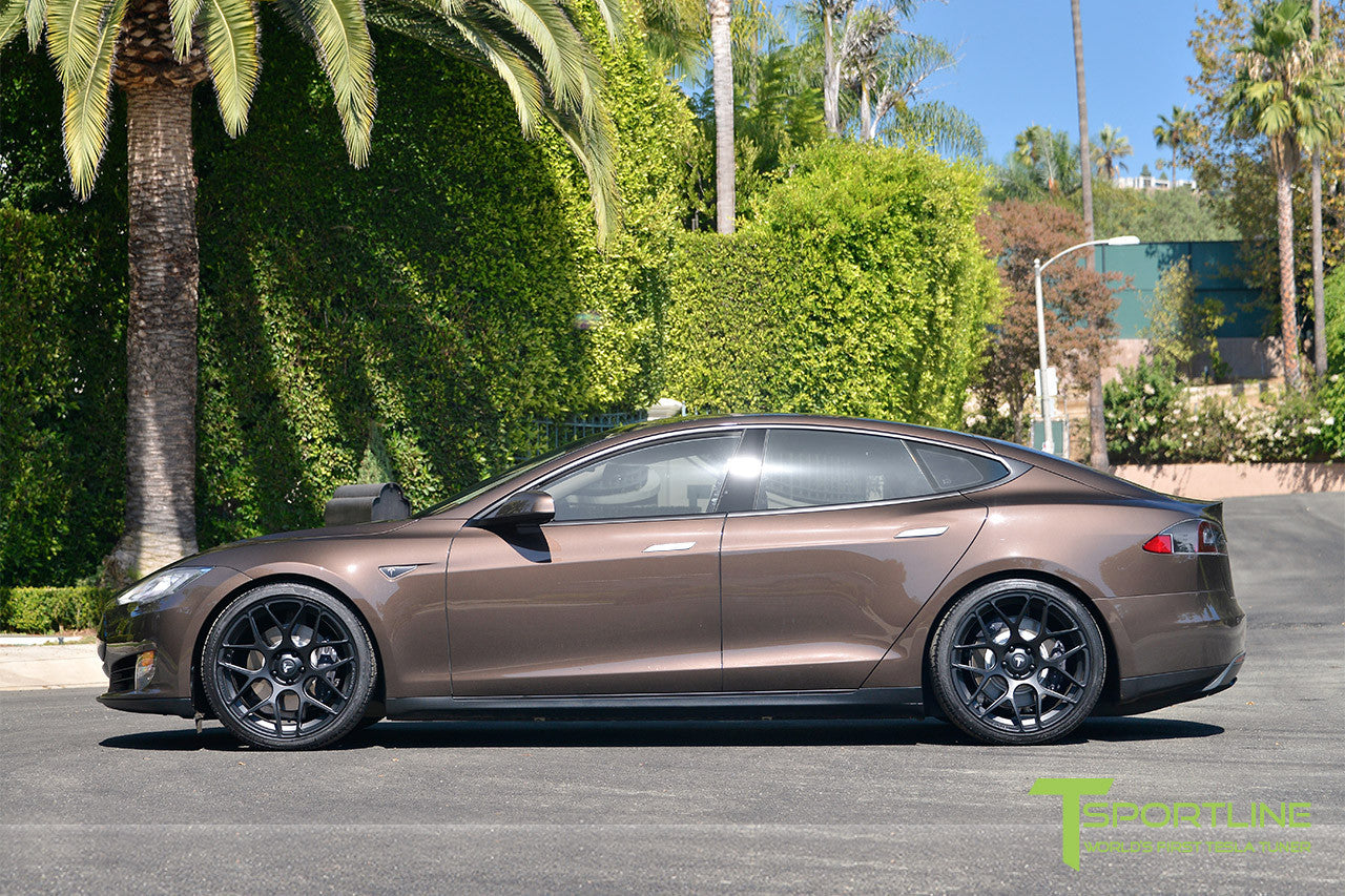 Brown Tesla Model S 1.0 with Matte Black 21 inch TS117 Forged Wheels 2