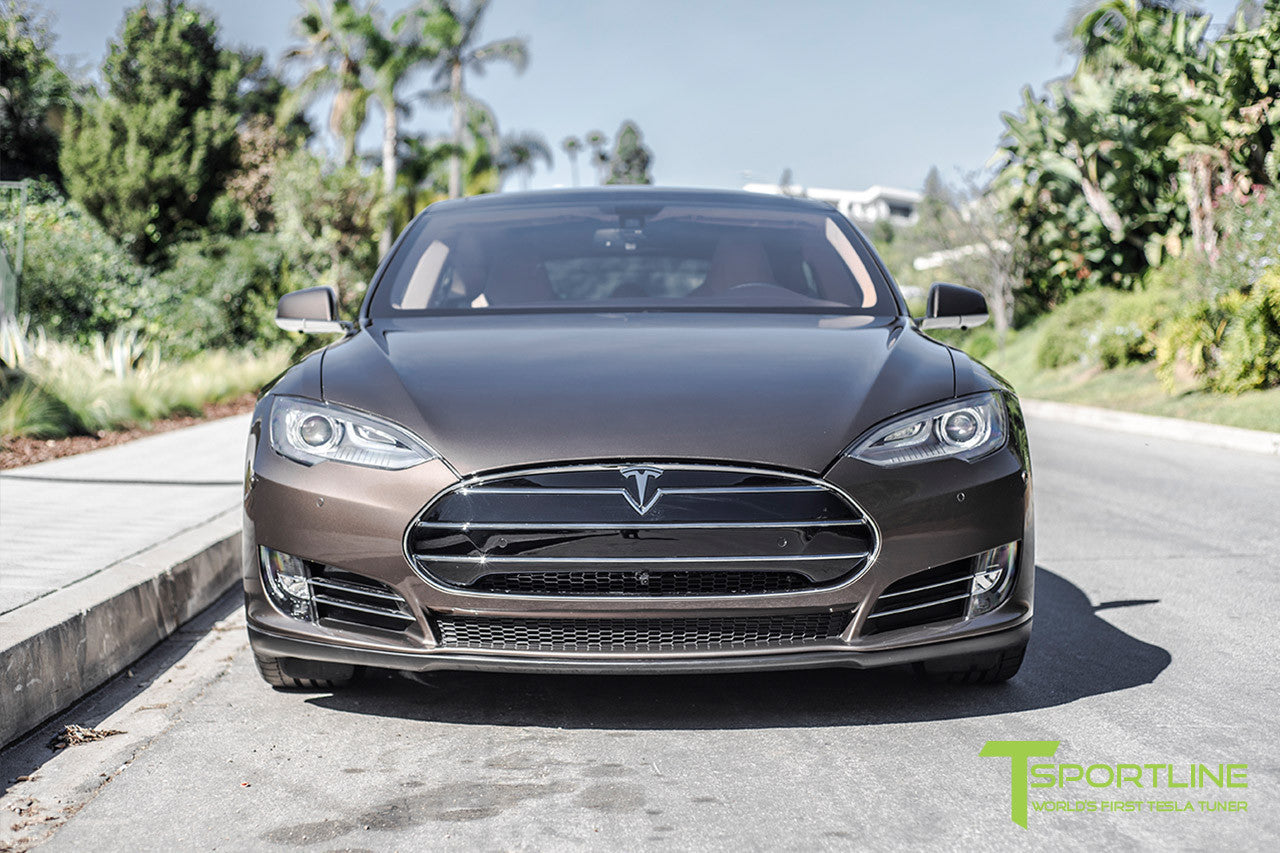 Brown Tesla Model S 1.0 with Nosecone Grille by T Sportline