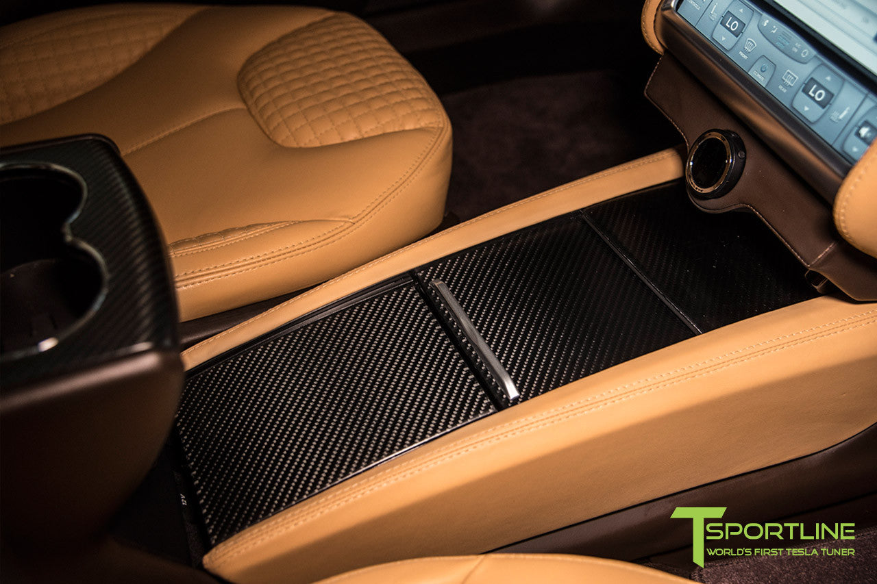 Project Regal - Tesla Model S P90D - Custom Ferrari Tan Interior and Carbon Fiber Center Console - 21 Inch TS112 Forged Wheels in Diamond Black