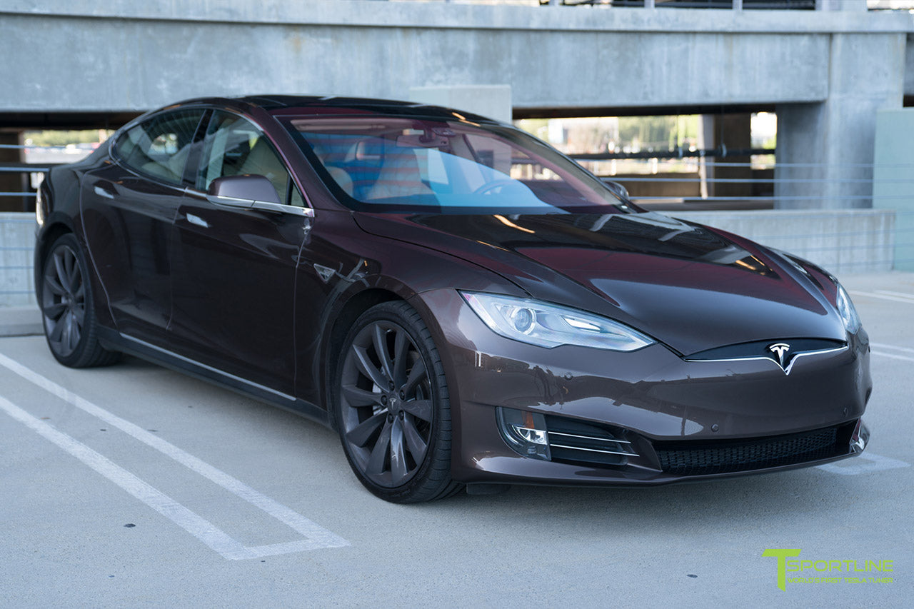 Brown Tesla Model S 2012-2016 Front Bumper Refresh Facelift Fascia Retrofit by T Sportline