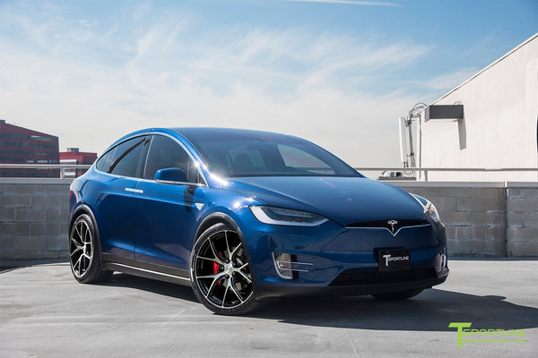 Deep Blue Metallic Tesla Model X with Diamond Black 22 inch MX115 Forged Wheels by T Sportline 1
