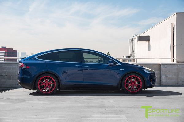 Deep Blue Metallic Tesla Model X with Velocity Red 22 inch MX115 Forged Wheels 1