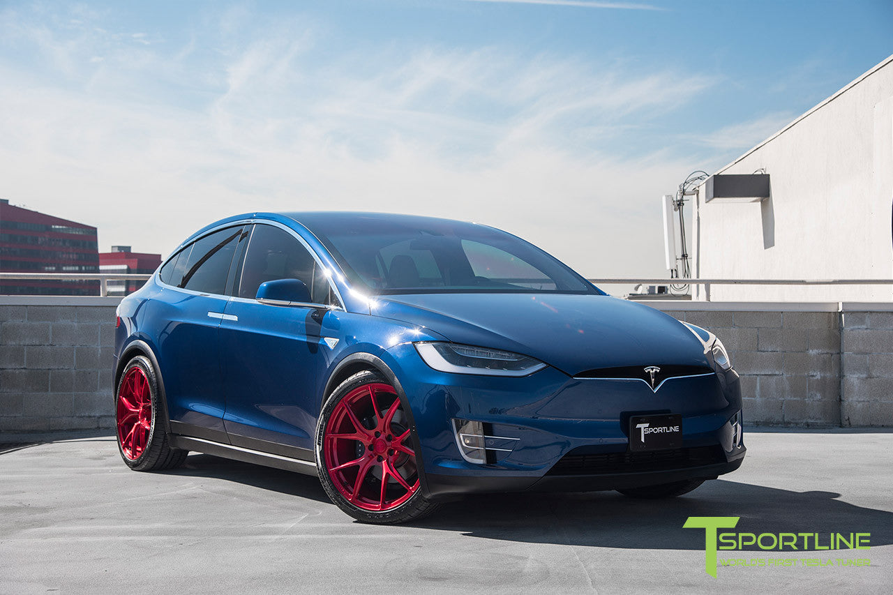 Deep Blue Metallic Tesla Model X with Velocity Red 22 inch MX115 Forged Wheels