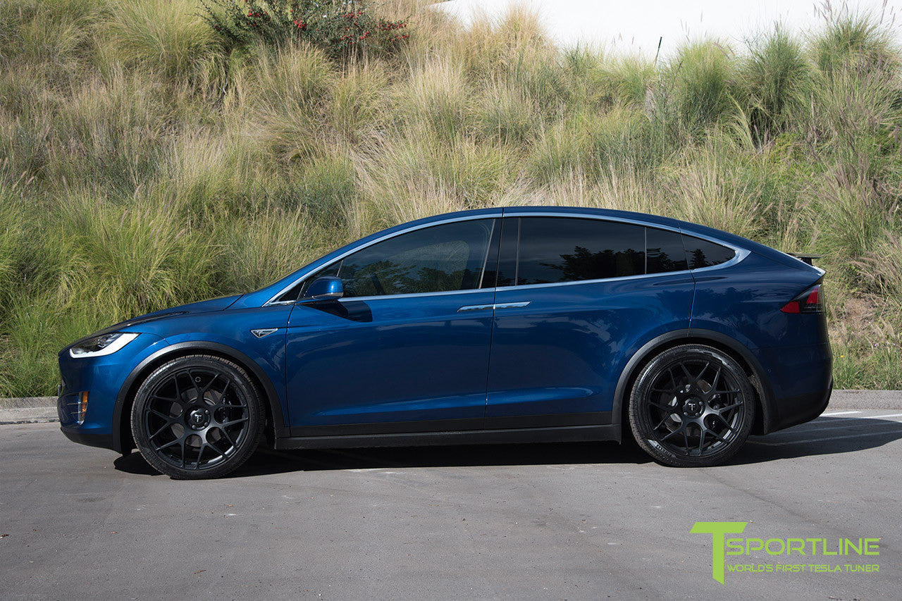 Deep Blue Metallic Tesla Model X with Matte Black 22 inch MX117 Forged Wheels