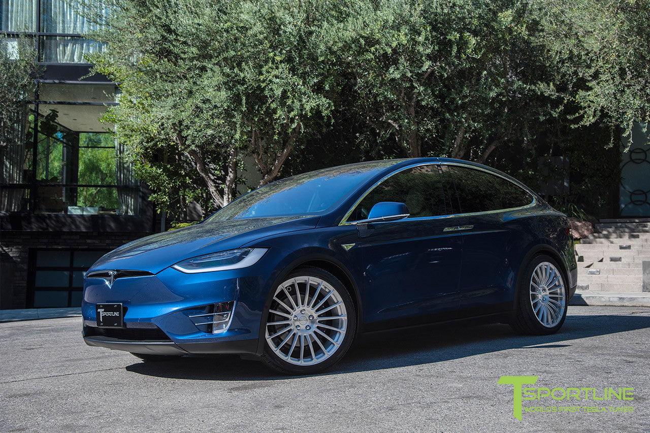 Deep Blue Metallic Tesla Model X with Brush Satin 22 inch MX118 Forged Wheels