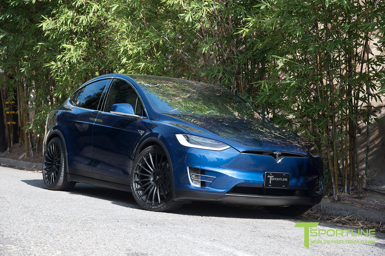 Deep Blue Metallic Tesla Model X with Matte Black 22 inch MX118 Forged Wheels
