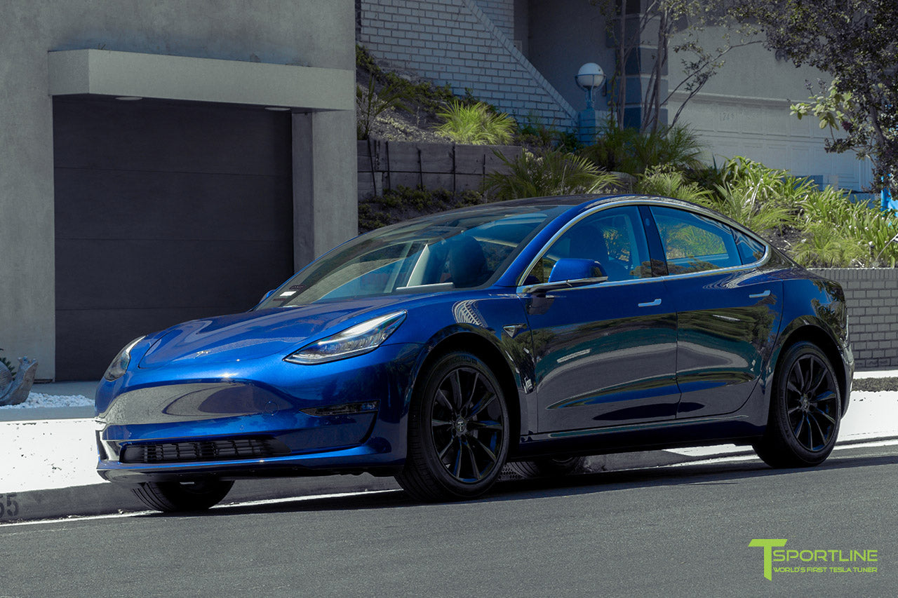 Deep Blue Metallic Tesla Model 3 with Gloss Black 18 inch TST Flow Forged Turbine Style Wheels by T Sportline 4