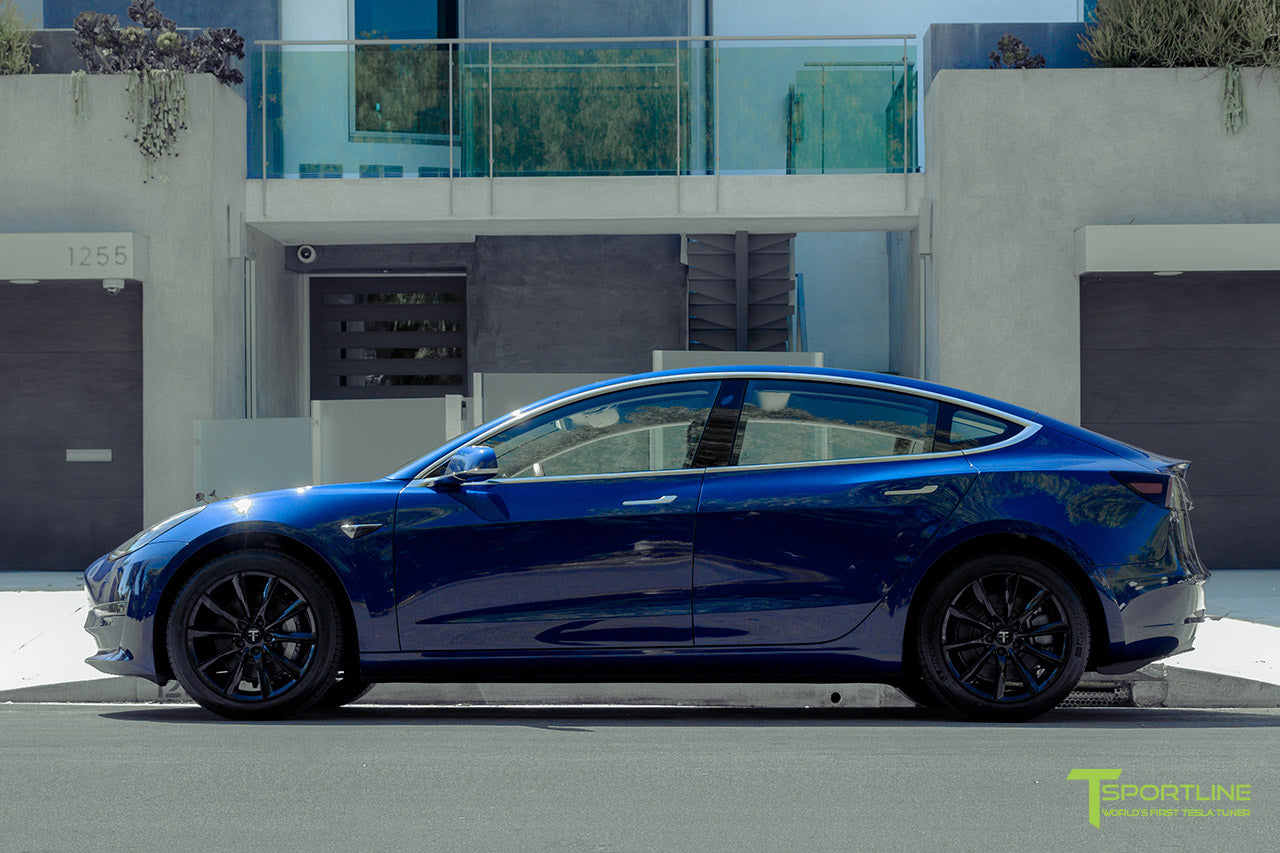 Deep Blue Metallic Tesla Model 3 with Gloss Black 18 inch TST Flow Forged Turbine Style Wheels by T Sportline 3
