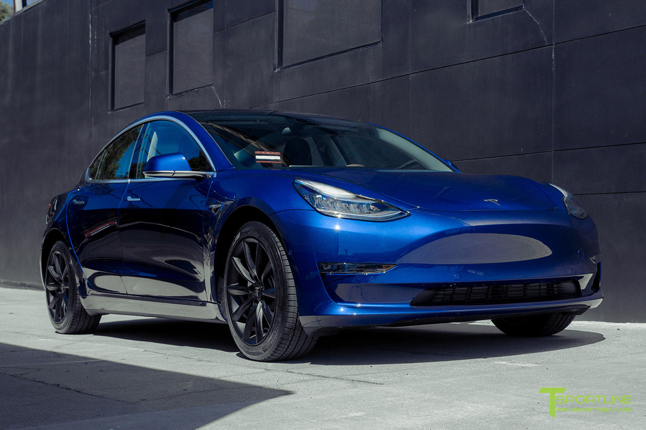 Deep Blue Metallic Tesla Model 3 with Matte Black 18 inch TST Flow Forged Turbine Style Wheels by T Sportline 4