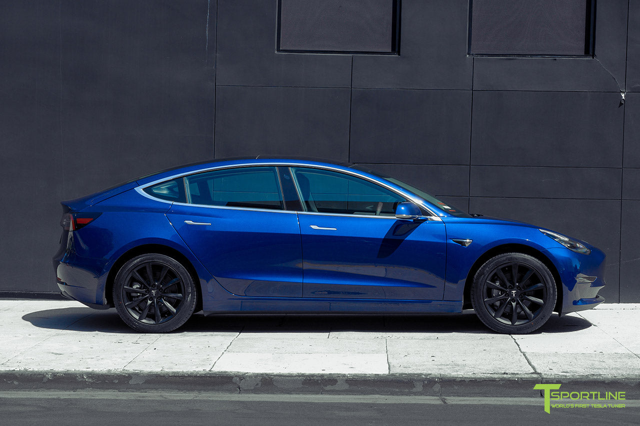 Deep Blue Metallic Tesla Model 3 with Matte Black 18 inch TST Flow Forged Turbine Style Wheels by T Sportline 3