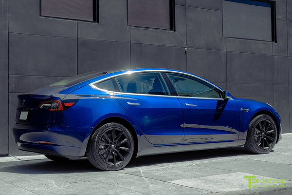 Deep Blue Metallic Tesla Model 3 with Matte Black 18 inch TST Flow Forged Turbine Style Wheels by T Sportline 2
