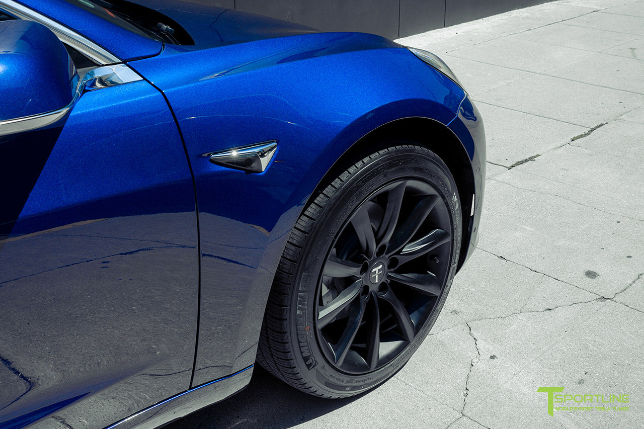 Deep Blue Metallic Tesla Model 3 with Matte Black 18 inch TST Flow Forged Turbine Style Wheels by T Sportline 1