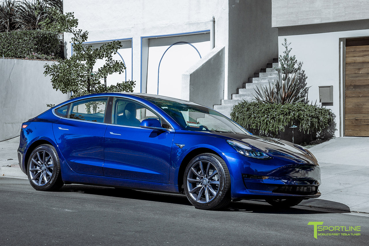 Deep Blue Metallic Tesla Model 3 with Space Gray 18 inch TST Flow Forged Turbine Style Wheels by T Sportline 4