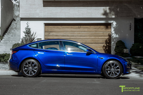 Deep Blue Metallic Tesla Model 3 with Space Gray 18 inch TST Flow Forged Turbine Style Wheels by T Sportline