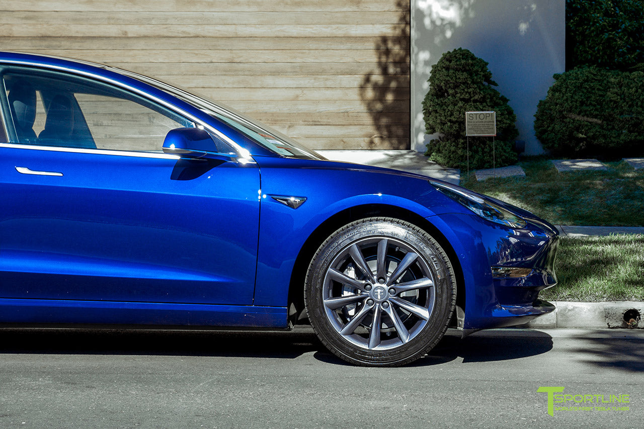 Deep Blue Metallic Tesla Model 3 with Space Gray 18 inch TST Flow Forged Turbine Style Wheels by T Sportline 1