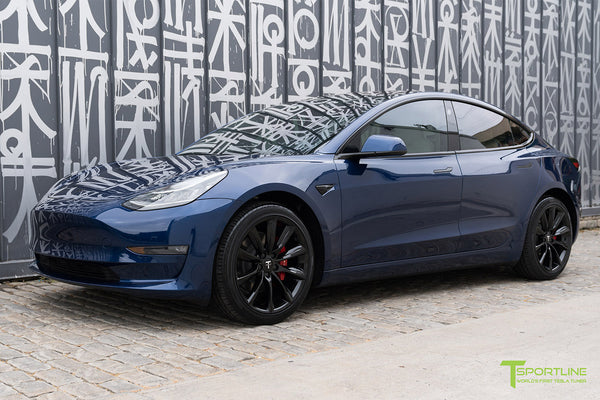 Deep Blue Metallic Tesla Model 3 with Gloss Black 19 inch TST Turbine Style Wheels by T Sportline 4