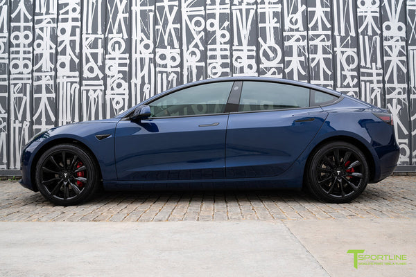 Deep Blue Metallic Tesla Model 3 with Gloss Black 19 inch TST Turbine Style Wheels by T Sportline 3
