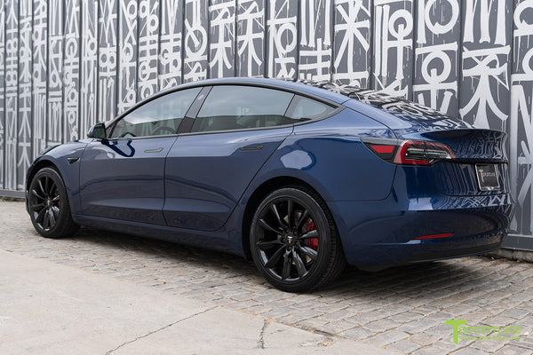 Deep Blue Metallic Tesla Model 3 with Gloss Black 19 inch TST Turbine Style Wheels by T Sportline 2