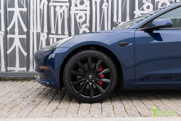 Deep Blue Metallic Tesla Model 3 with Gloss Black 19 inch TST Turbine Style Wheels by T Sportline 1