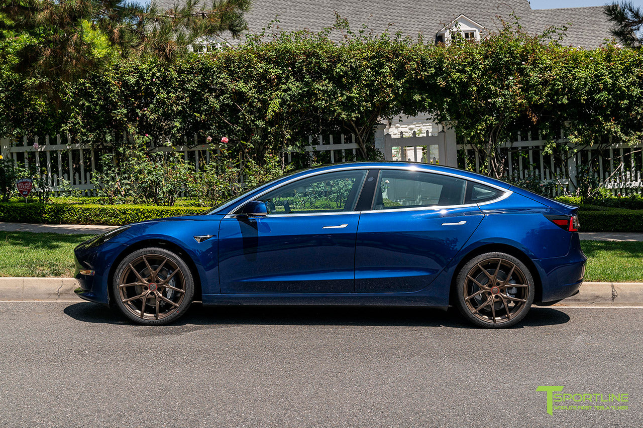 Deep Blue Metallic Tesla Model 3 with 20
