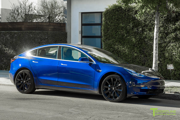 Deep Blue Metallic Tesla Model 3 with Gloss Black 20 inch TST Turbine Style Wheels by T Sportline 4