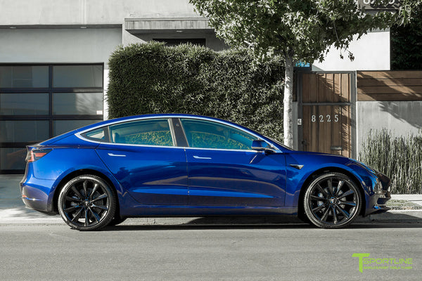 Deep Blue Metallic Tesla Model 3 with Gloss Black 20 inch TST Turbine Style Wheels by T Sportline 3