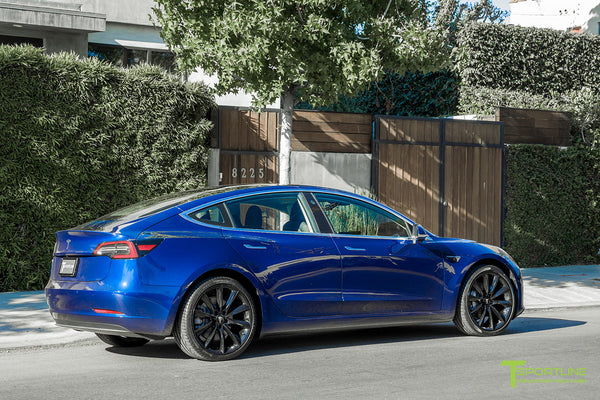 Deep Blue Metallic Tesla Model 3 with Gloss Black 20 inch TST Turbine Style Wheels by T Sportline 2