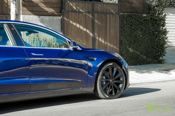 Deep Blue Metallic Tesla Model 3 with Gloss Black 20 inch TST Turbine Style Wheels by T Sportline 1