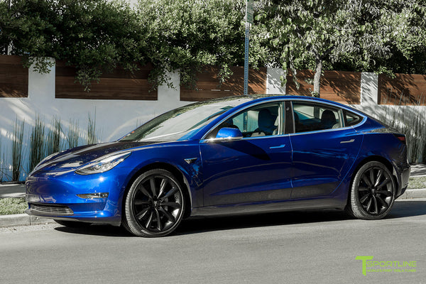 Deep Blue Metallic Tesla Model 3 with Matte Black 20 inch TST Turbine Style Wheels by T Sportline 4