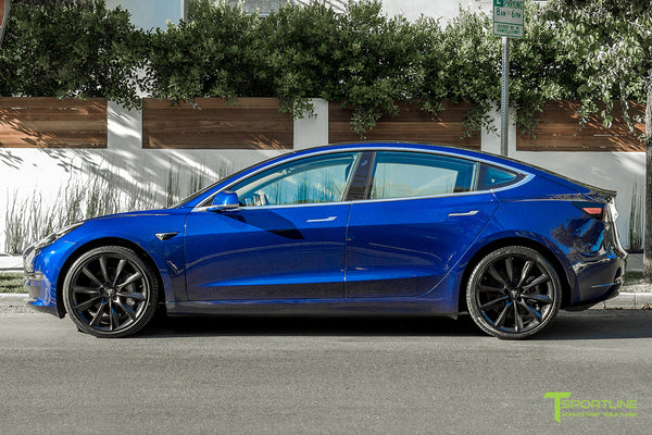 Deep Blue Metallic Tesla Model 3 with Matte Black 20 inch TST Turbine Style Wheels by T Sportline 3