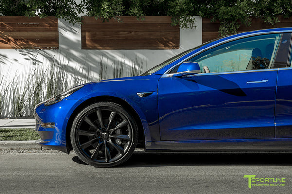 Deep Blue Metallic Tesla Model 3 with Matte Black 20 inch TST Turbine Style Wheels by T Sportline 1