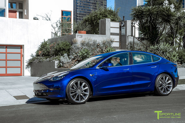Deep Blue Metallic Tesla Model 3 with Metallic Gray 20 inch TST Turbine Style Wheels by T Sportline 4