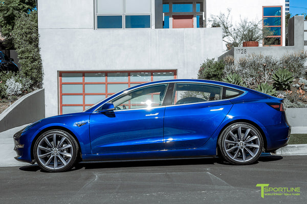 Deep Blue Metallic Tesla Model 3 with Metallic Gray 20 inch TST Turbine Style Wheels by T Sportline 3