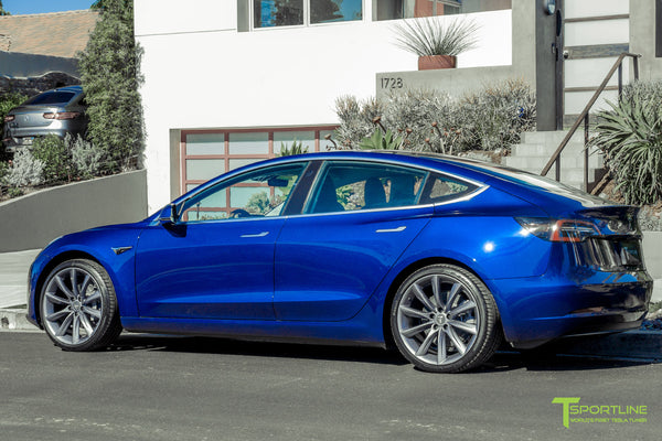 Deep Blue Metallic Tesla Model 3 with Metallic Gray 20 inch TST Turbine Style Wheels by T Sportline 2