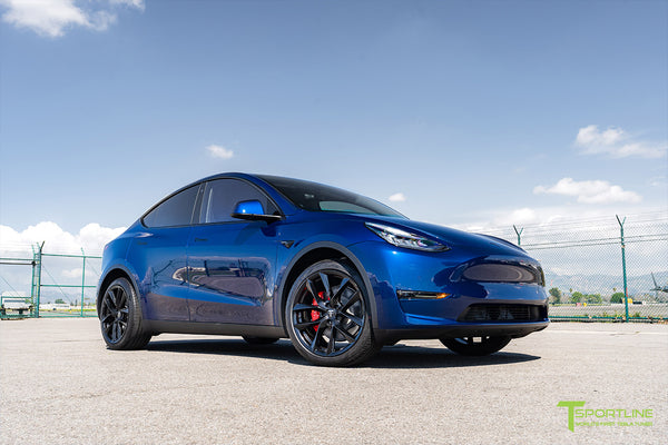 Deep Blue Metallic Tesla Model Y with 20 inch TSS Flow Forged Wheels in Matte Black by T Sportline 4