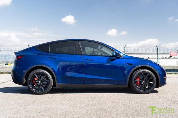Deep Blue Metallic Tesla Model Y with 20 inch TSS Flow Forged Wheels in Matte Black by T Sportline 3
