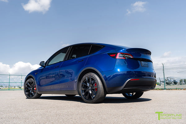 Deep Blue Metallic Tesla Model Y with 20 inch TSS Flow Forged Wheels in Matte Black by T Sportline 2