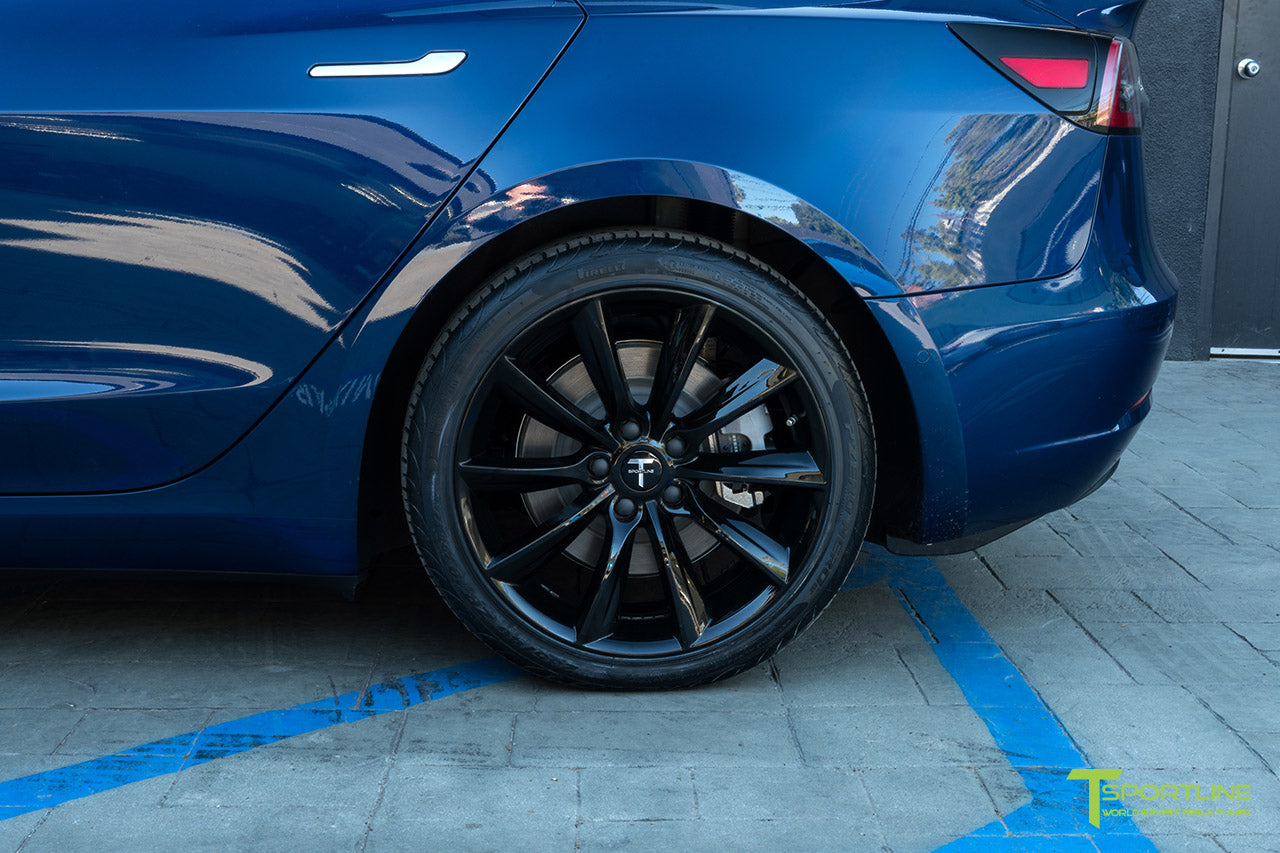 Deep Blue Metallic Tesla Model 3 with Gloss Black 19 inch TST Tesla Wheel by T Sportline