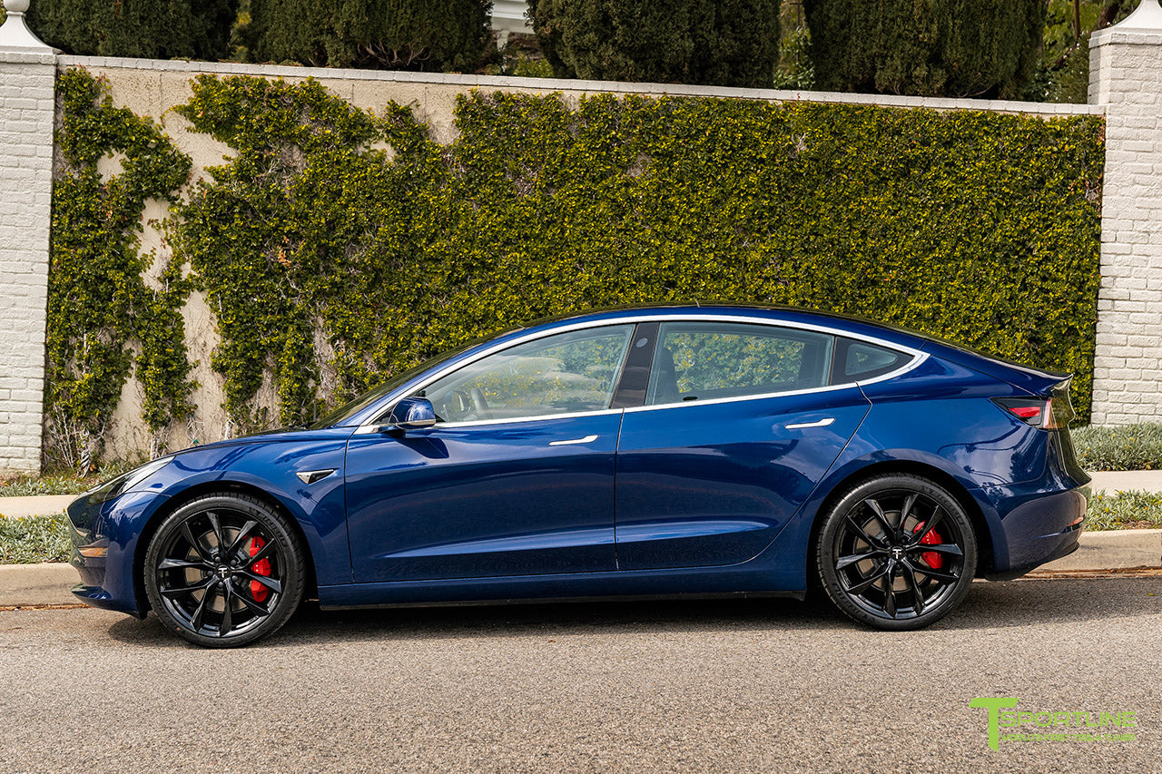 Deep Blue Metallic Tesla Model 3 with Gloss Black 20