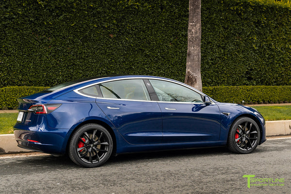 Deep Blue Metallic Tesla Model 3 with Matte Black 19