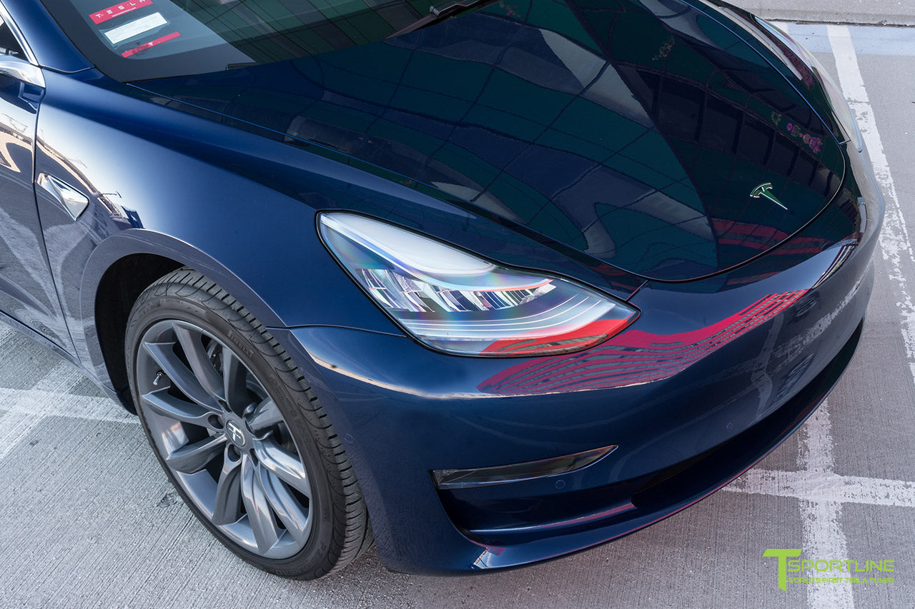 Deep Blue Metallic Tesla Model 3 with Metallic Gray Grey 19 inch TST Tesla Wheel by T Sportline