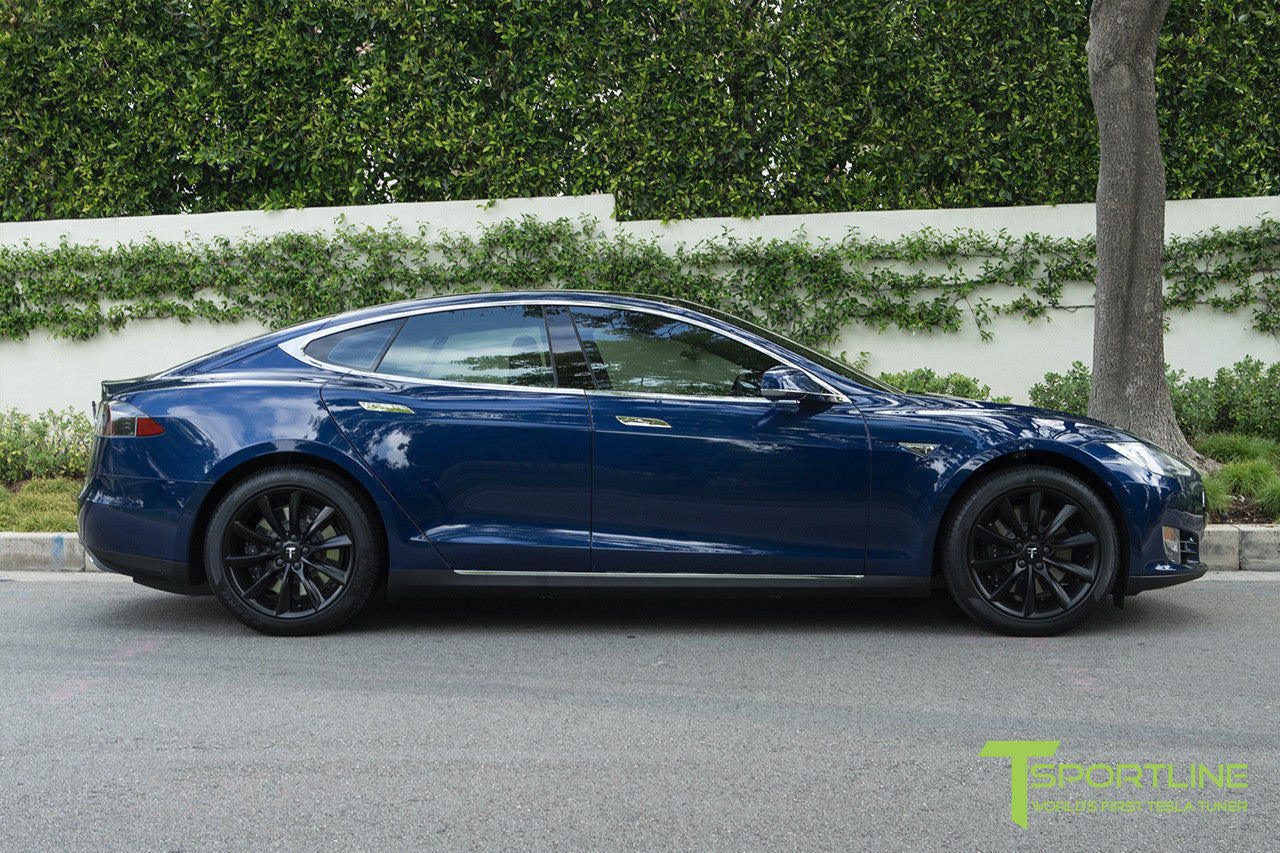 "Deep Blue Metallic Model S 1.0 with 19"" TST Tesla Wheel in Matte Black"