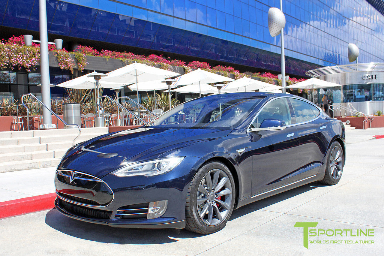 "Deep Blue Metallic Model S 1.0 with 19"" TST Tesla Wheel in Metallic Grey"