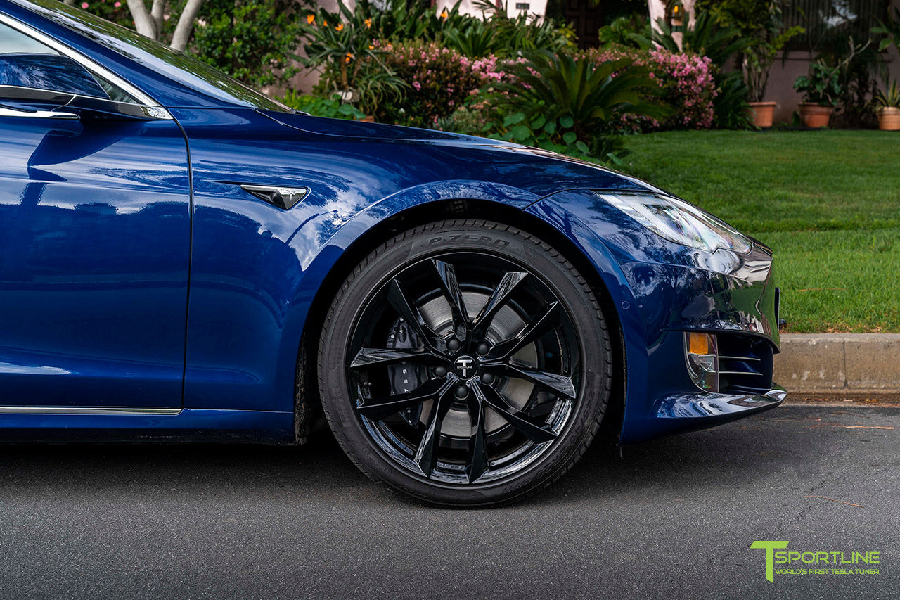 "Deep Blue Metallic Tesla Model S with 20"" TSS Flow Forged Wheels in Gloss Black by T Sportline"
