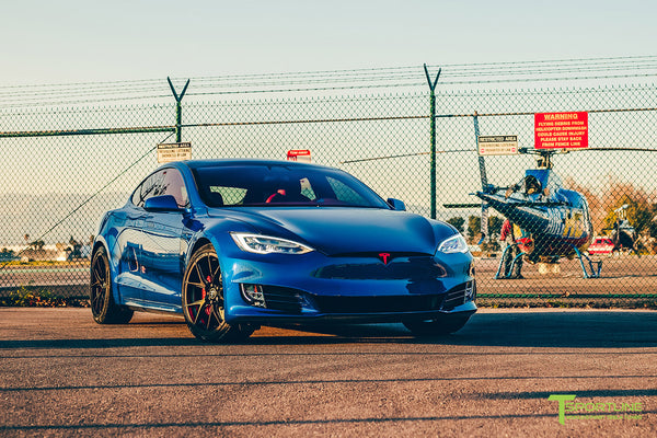 Project Superman v2 - Deep Blue Metallic 2020 Tesla Model S Performance with 21 inch Matte Black TS115 Forged Wheels, Chrome Delete by T Sportline 6