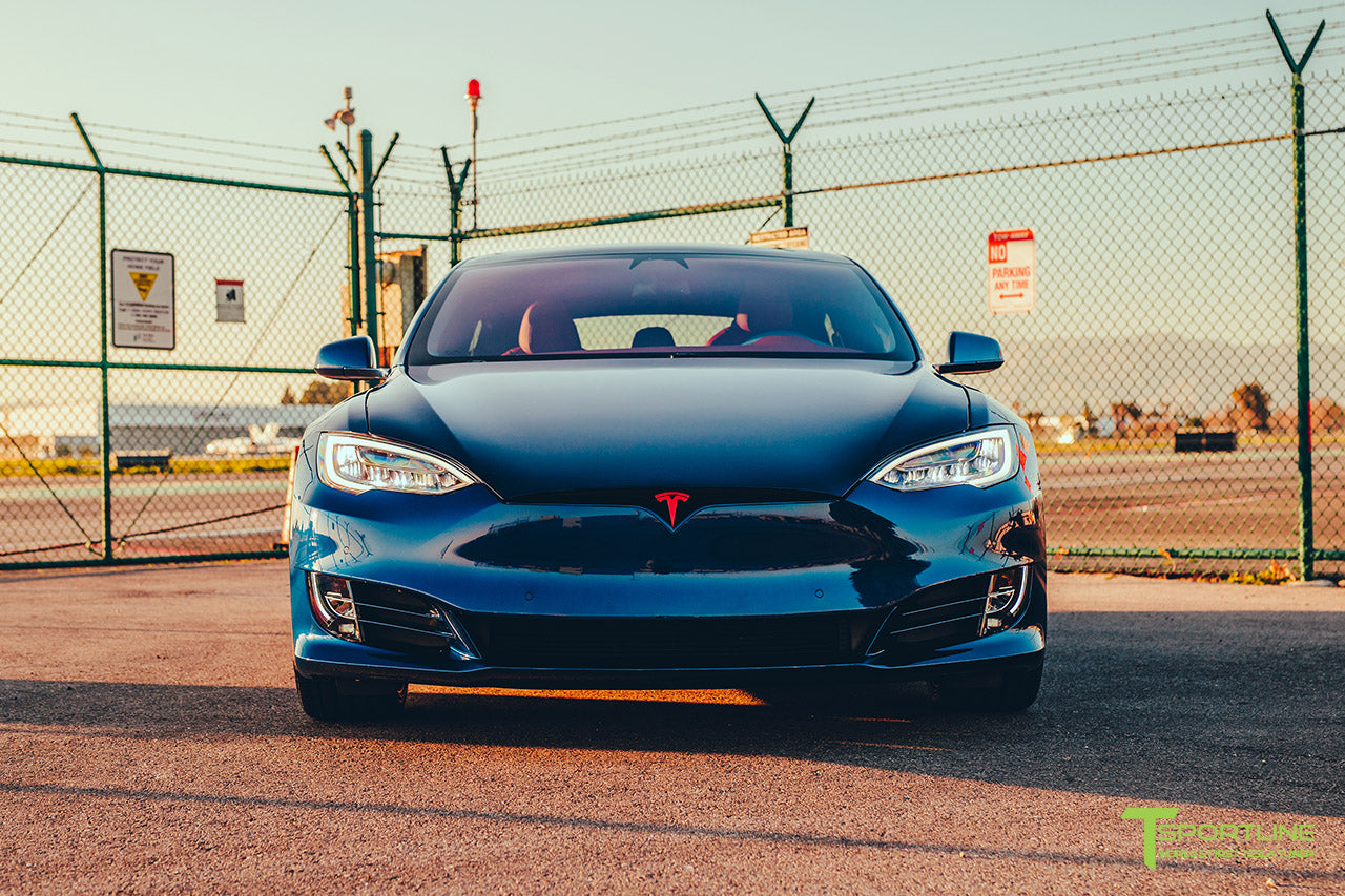 Project Superman v2 - Deep Blue Metallic 2020 Tesla Model S Performance with 21 inch Matte Black TS115 Forged Wheels, Chrome Delete by T Sportline 5