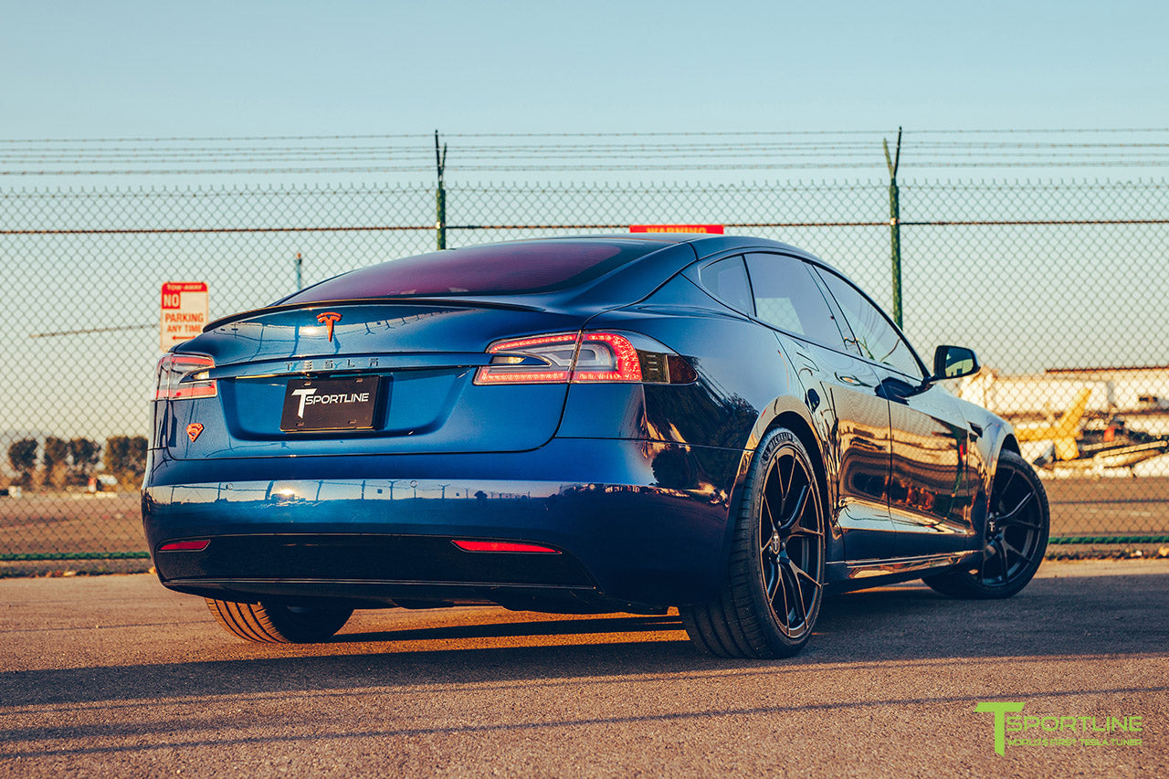 Project Superman v2 - Deep Blue Metallic 2020 Tesla Model S Performance with 21 inch Matte Black TS115 Forged Wheels, Chrome Delete by T Sportline 4