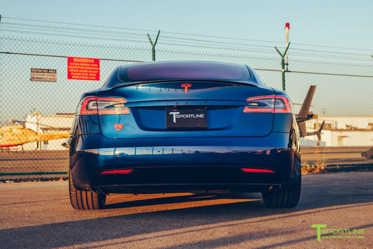 Project Superman v2 - Deep Blue Metallic 2020 Tesla Model S Performance with 21 inch Matte Black TS115 Forged Wheels, Chrome Delete by T Sportline 3