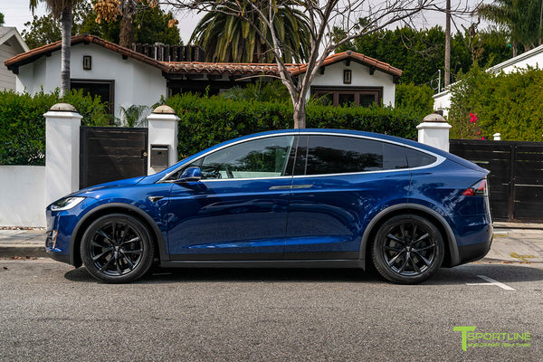 Deep Blue Metallic Tesla Model X with 20